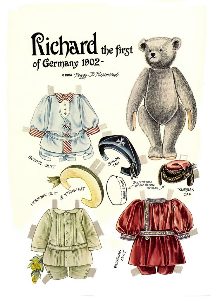 RICHARD the First of Germany 1902 from THE TEDDY BEAR AND FRIENDS PAPER DOLL by Peggy Jo Rosamond