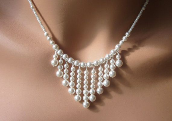 Pearl Necklace Earring Set Swarovski Graduating Pearls Womens Jewelry Wedding Bride Gift Adjustable