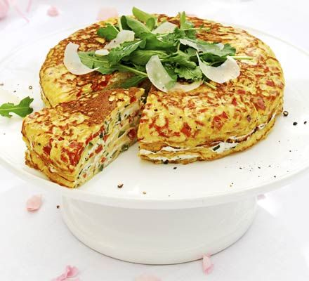 Provençal omelette cake - delicious main course, prepare ahead so ideal for entertaining or buffets. Flavours are fresh and vibrant, easy to make but not a speedy one, worth it though.