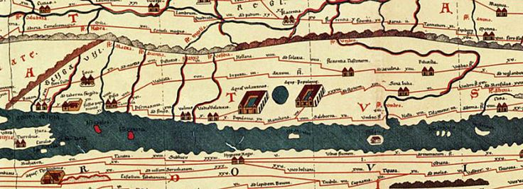 Fig.1 Parte della Tabula Peutingeriana raffigurante l'Italia centrale, in basso a sinistra una parte della Sardegna e della Corsica