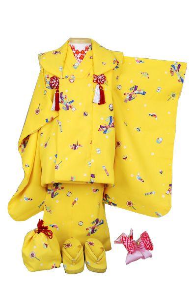 三歳被布セット 黄色(のしめと玩具づくし)