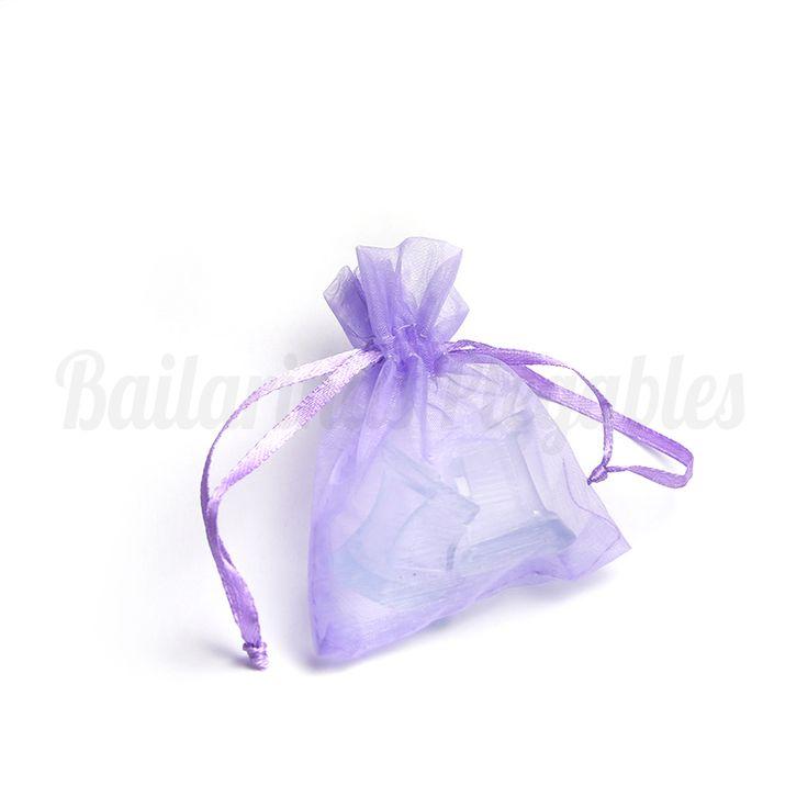Taconeras en su bolsita de organza, para poder regalarlas a las invitadas de tu boda y quedar como una reina.