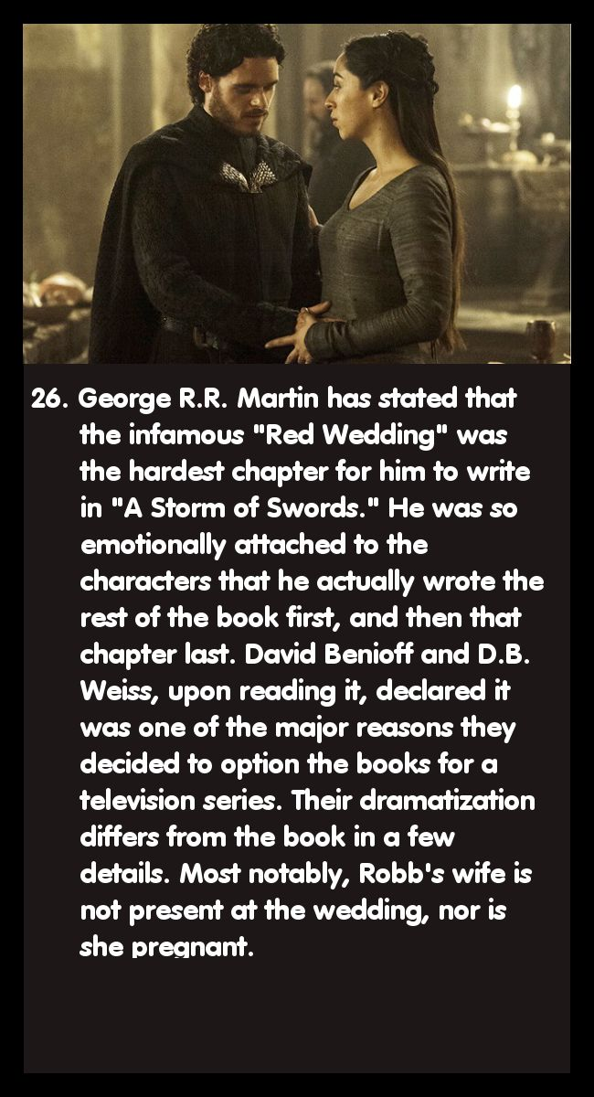 And she's also a completely different character ... Kind of interested to see where the show goes with that plot because in the books, I'm pretty sure Robb's wife and her family are going to show up again.