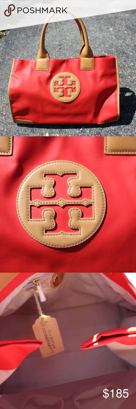 """NWOT Tory Burch Emma Tote Fold. Pack. Go! The new Ella Packable Tote folds flat and snaps shut Designed to tuck easily into another bag or a suitcase, simply collapse it in an accordion style, fold the sides in and snap them together Inner zipped pocket and two open pockets Flat leather handles with 11"""" drop Height: 12.15"""" x Length: 15.74"""" x Depth: 5.98"""" - price firm no trades! Shop for less at www.chicboutiqueconsignments.com Tory Burch Bags Totes"""