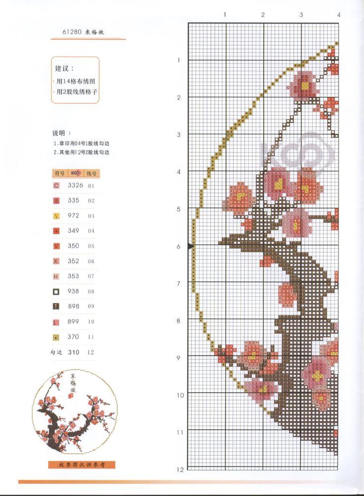 Borduurpatroon Bloemen - Planten *Cross Stitch Flowers - Plants  ~Japanse Bloesem 1/2~