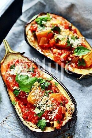 Bakłażan faszerowany pomidorami i dynią