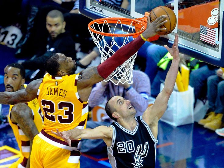 Jan. 30, 2016: Cavaliers forward LeBron James (23) blocks a shot attempt by Spurs guard Manu Ginobili (20) during the third quarter in Cleveland. James also scored a game-high 29 points as the Cavs prevailed 117-103 for an elusive win over the NBA's elite.  David Richard, USA TODAY Sports