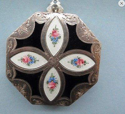 Vintage Guilloche Sterling Silver and Enamel Compact Art Deco 1920'S | eBay