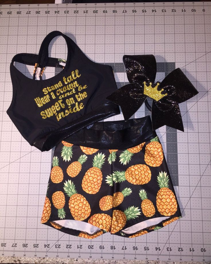 Girls Dancewear Pineapple Sports Bra Crop Top, Spandex Shorts, and optional Matching Crown Cheer Bow gymnastics shorts black gold cheer bow by AMPtActivewear on Etsy https://www.etsy.com/listing/502501094/girls-dancewear-pineapple-sports-bra