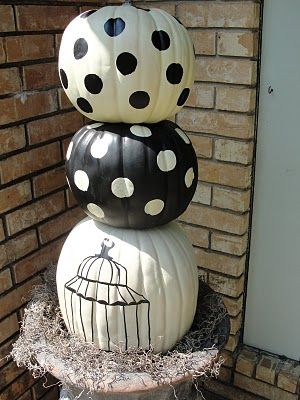.: Polka Dots, Fall Decor, Black And White, Fall Halloween, Black White, White Pumpkin, Imperfect Beautiful, Front Porches, Fall Color