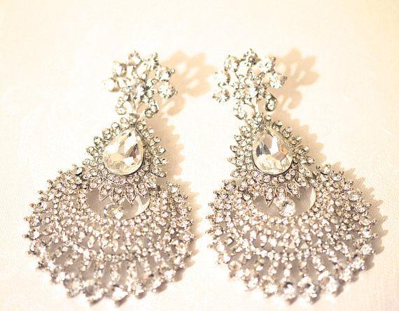 Silver Earring Crystal Chandelier Wedding Bridal Bollywood