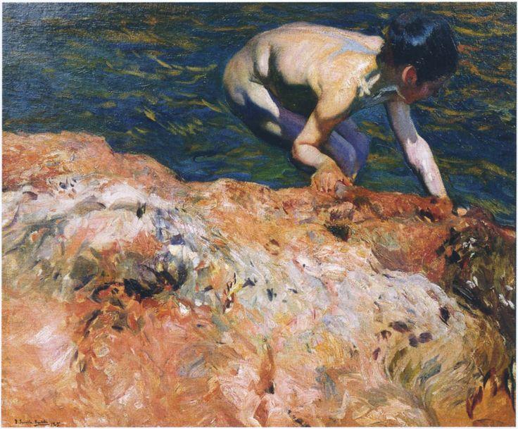 "joaquín sorolla y bastida - ""looking for shellfish"", 1905, oil on canvas."