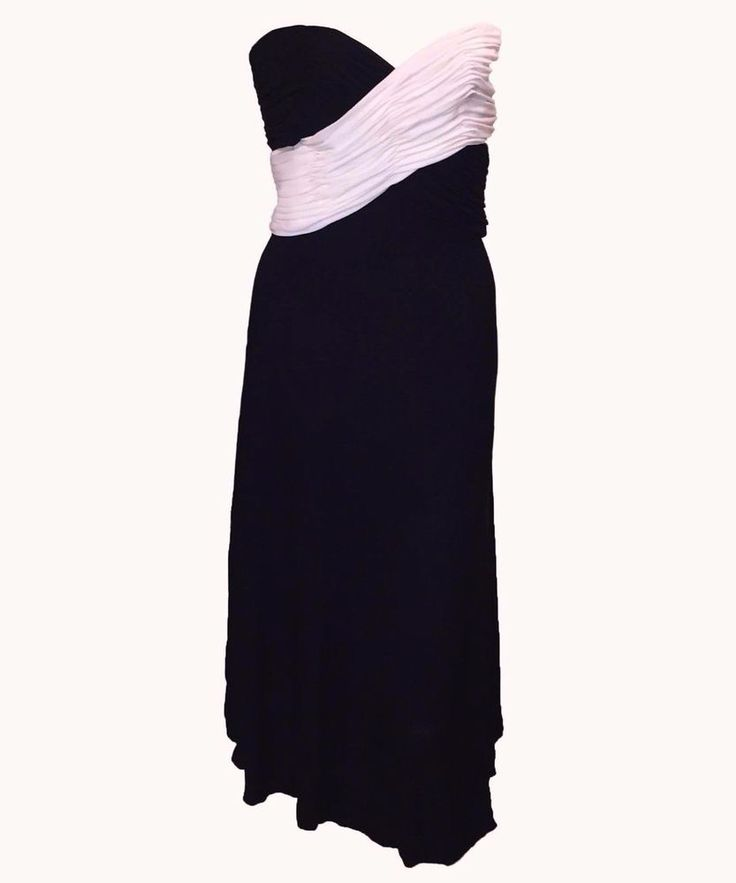 Azzaro Cuiture Black and White Long Dress // NEW + TAGS - Size FR: 38  #Azzaro #StretchBodycon #Formal