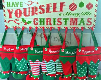 Elf Stocking Elf pants Embroidered Christmas by PryncessStitch