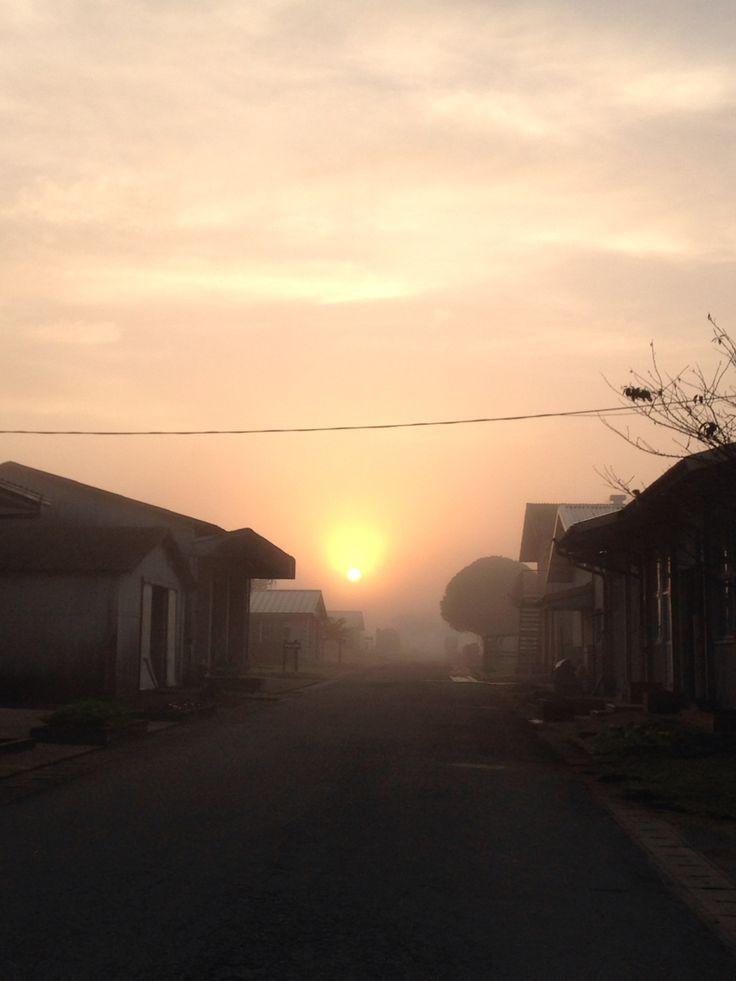 霧ががってる朝…