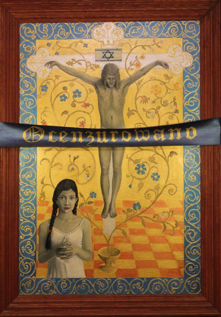 """,,Alegoria do Kodu Leonarda Da Vinci"""" 2008-2009r. olej akryl na sklejce, 120x80cm. Obraz został ocenzurowany w konkursie w Białymstoku."""
