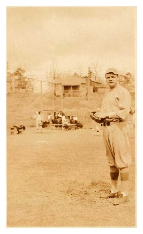 Young Babe Ruth Poses For The Camera: Spring Training 1915 - Arkansas. Here's a super-rare photo of The Babe in Spring Training before his first full season in the big leagues. He'd end up going 18-8 with a 2.44 era…and he hit .315, not too shabby.
