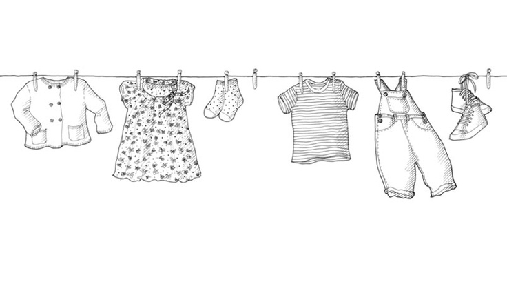 Line Art Shirt : A clothes line with baby or little dresses would