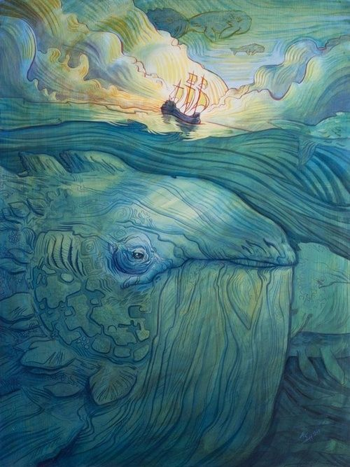 As always, the color of the piece grabbed me. Then I saw the boat and wondered if there would be a Moby Dick, and there is. The whale is beautifully shaped with organic shapes that look like continents.    marc scheff