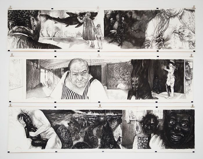 Diane Victor | Some things are just pictures 2002 | Charcoal on paper (3 panels: 705 x 3100mm each) | www.art.co.za/dianevictor #throwbackthursday
