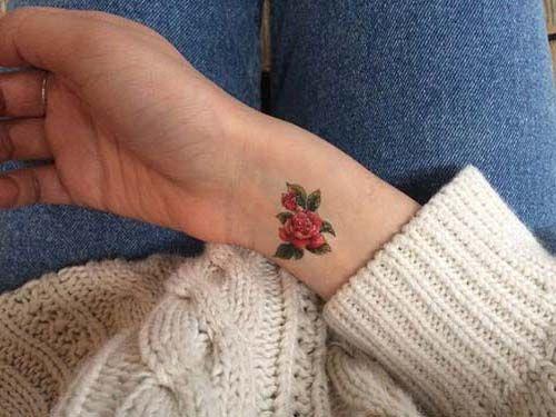 küçük gül bilek dövmeleri bayan small rose wrist tattoos for women