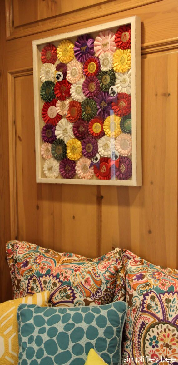 #ribbon #collection #framed ..great idea for ribbons of all kinds; swim team, horse shows, track team, etc.