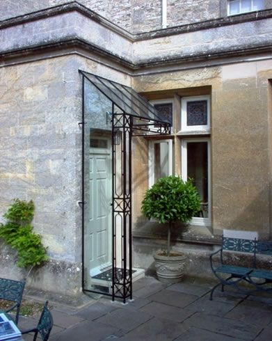 Beech Glass And Wrought Iron Door Canopy Ironart Bath