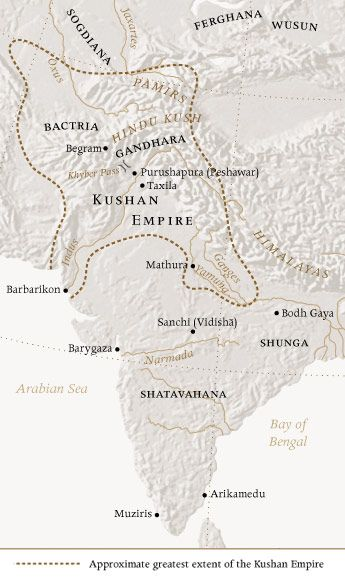 MAP ca. 150 CE. Kushan Empire. Kujula Kadphises united the disparate tribes in the 1st C. BCE wresting control of the area from the Scytho-Parthians, the Yuezhi moved south into the N.W. Indian known as Gandhara (now parts of Pakistan and Afghanistan) and established a capital near Kabul.