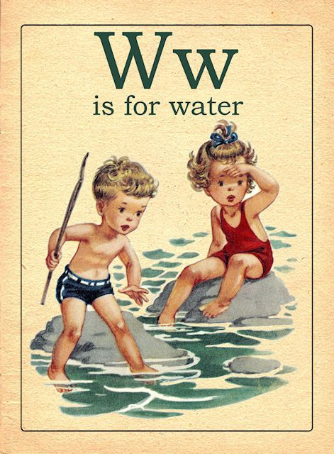Vintage playing cards illustration- W is for Water
