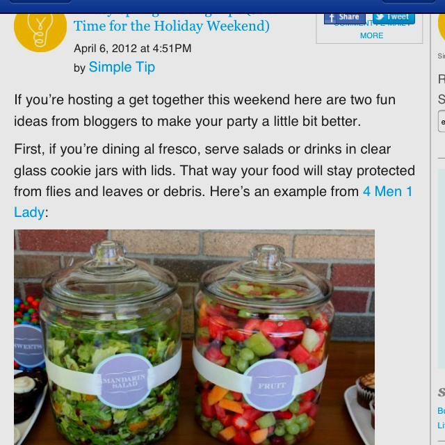 salads in a jar - outdoor party idea! Totally love this idea. Keep the flies out, and looks totally cute!