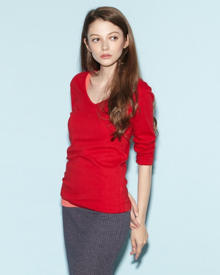THREE DOTS WOMEN RED BLOOM  Amy Vネック コットン7分袖Tシャツ