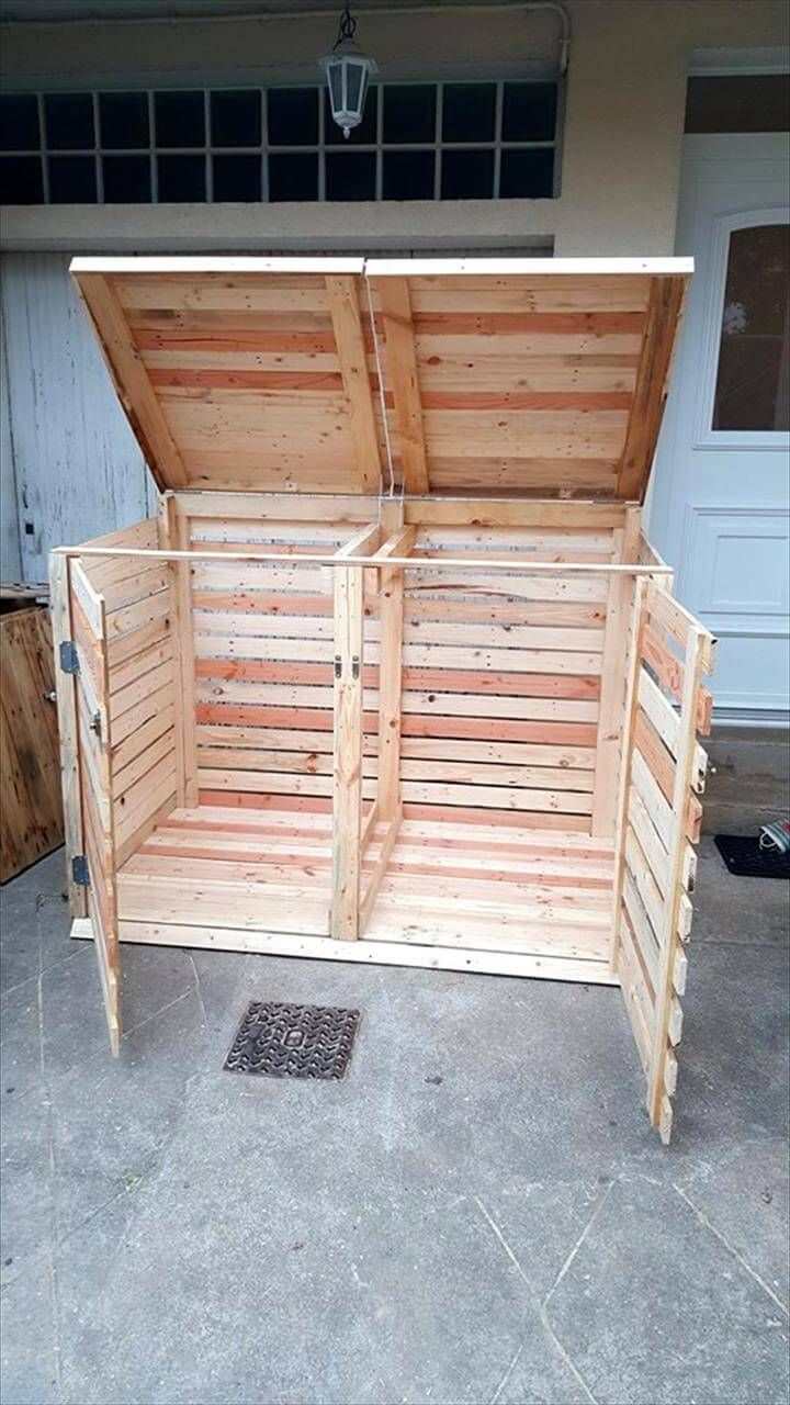 Pallet Trash Can Cabinet Pallets Pro Trash Can Cabinet Wood Pallet Furniture Trash Can Covers