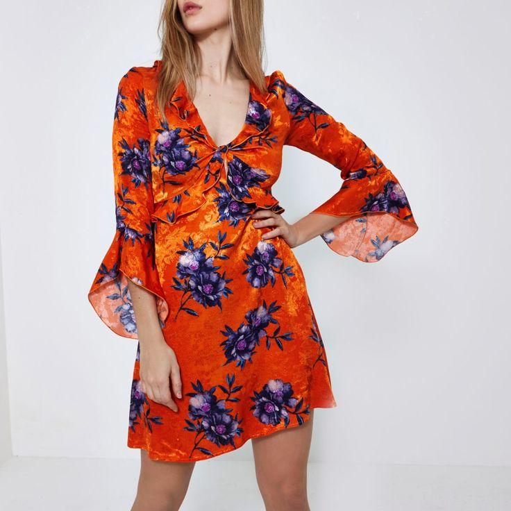 Orange floral jacquard frill tea dress