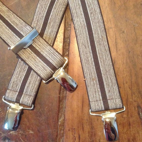 274.73 kr. French 1950s Vintage Men Clip Suspenders  Chic Brown by ladouchka