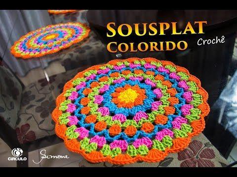 Sousplat de Crochê   Max Colorido   Professora Simone - YouTube