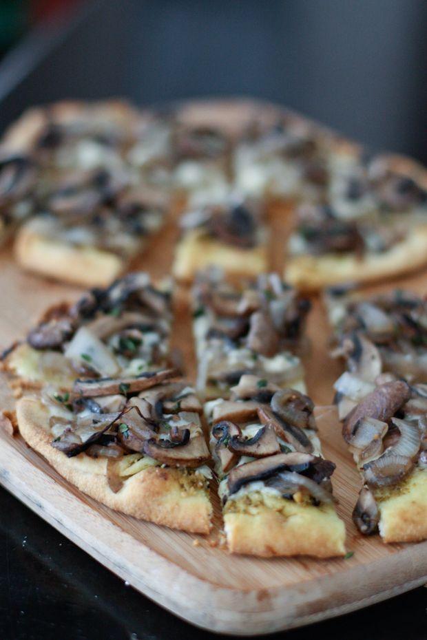 Grilled Portabella Mushroom Pesto Flatbreads | AggiesKitchen.com #grill…