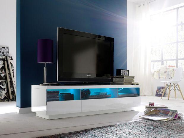 TV - Lowboard Marion inklusive RGB-LED Beleuchtung mit Fernbedienung Hochglanz weiß 1 x Lowboard TV Kommode /  Media-TV-Element 3 Schubkästen mit Glasblende 3...