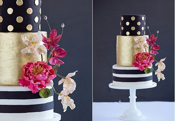 wedding cake stripes and polka dots wedding cake with stripes and polka dots black and gold by 25766