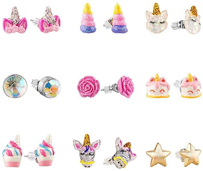 Girls 925 Sterling Silver Glitter Unicorn Stud Earrings Pink Macaroon Gift Box
