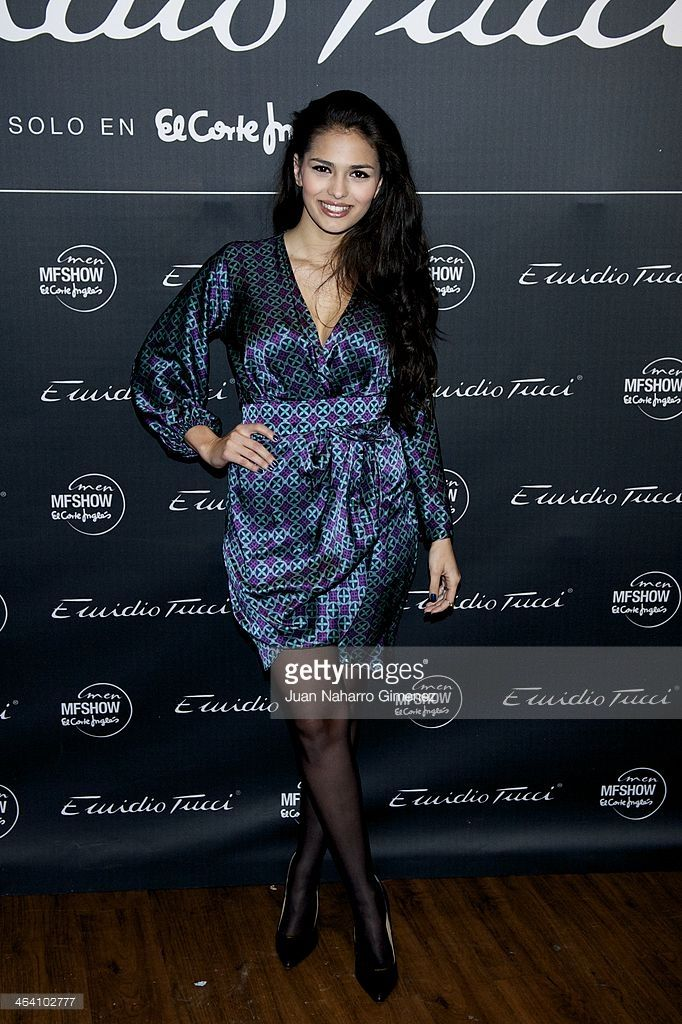 Sara Salamo attends Emidio Tucci new collection presentation at Teatro Calderon on January 20, 2014 in Madrid, Spain.