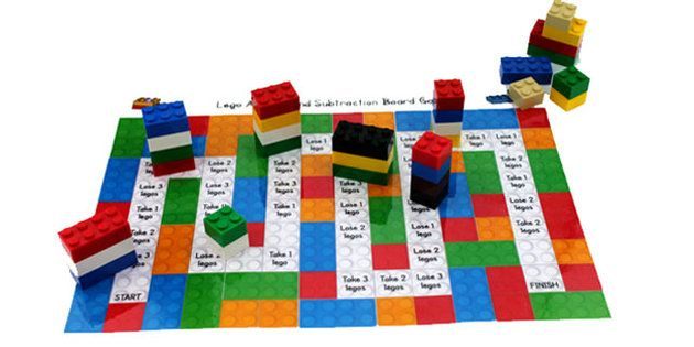 Lego Addition and Subtraction Board Game - lego, add, subtract More