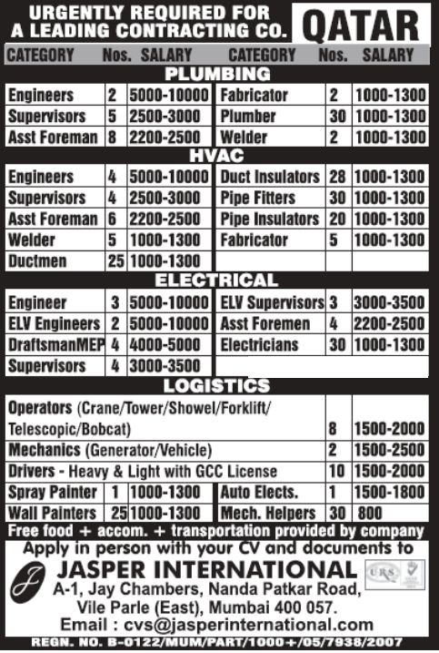 Recruitments in a Leading Contracting Company In Qatar – Gulf Jobs