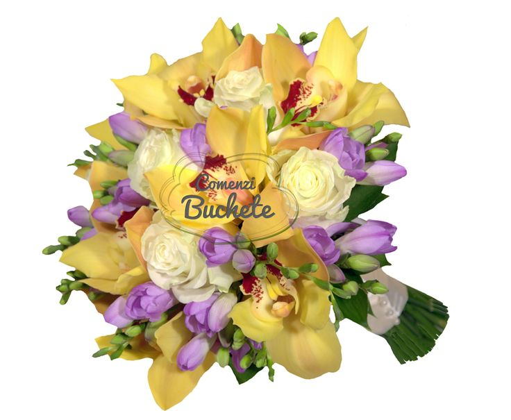 Buchet de mireasa cu orhidee cymbidium galbena, trandafiri albi si frezii mov. Parfumat, elegant, exotic.