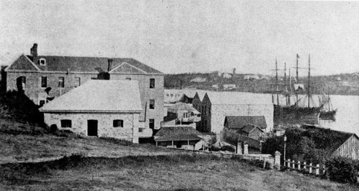 Early view of buildings on Queens Wharf Road, Brisbane, ca. 1870
