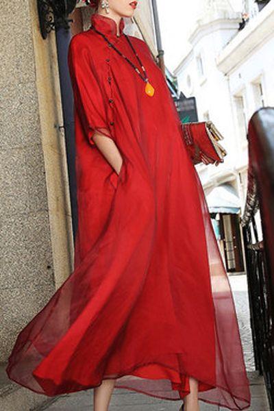 Red Layered Maxi Mandarin Dress   Maxi Dresses at DEZZAL