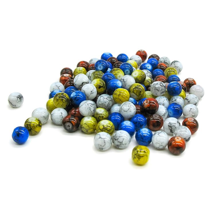 Pretty Pebbles Beads - 100 Painted Glass Beads Marble Effect Multi Colour Mix 8mm: Amazon.co.uk: Kitchen & Home