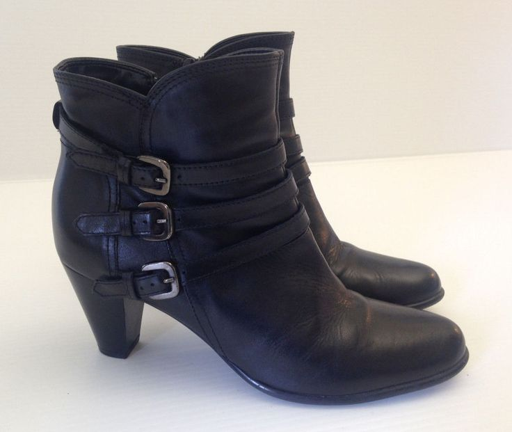 CLARKS Women's Black Leather Ankle Boots/Heels Size 8 M USA  #Clarks #AnkleBoots #WeartoWork