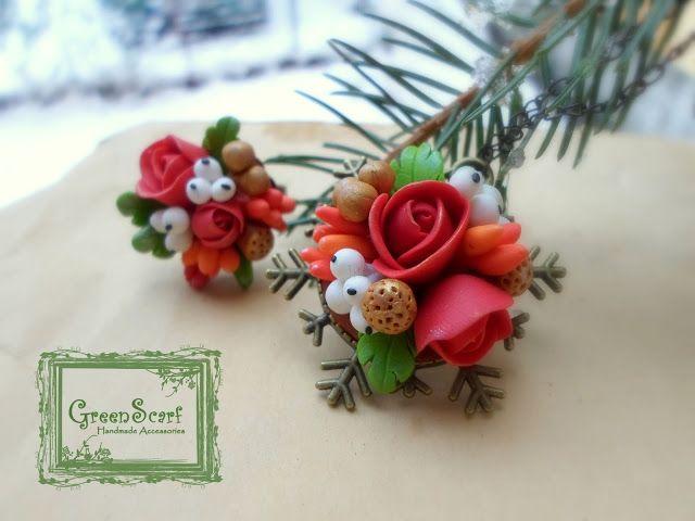 GreenScarf-Accesorii realizate manual: Fulgi, vâsc și trandafiri