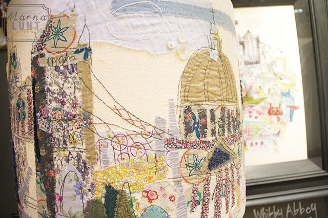 London Lampshade hand stitched by Marna Lunt Texiles