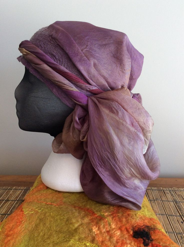 Hand dyed silk double layered triangle scarf with a nuno felted and top stitched head band. by FeltTheFluff on Etsy